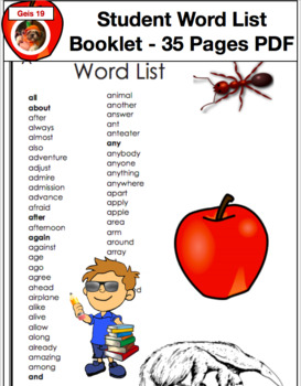 Student Creative Writing Word List Booklet 35 Page Booklet  PDF File