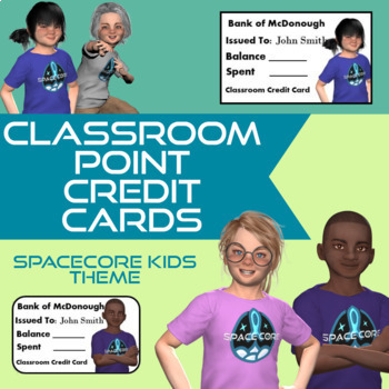 Student Credit Cards Editable SpaceCore Kids Theme Classroom Management