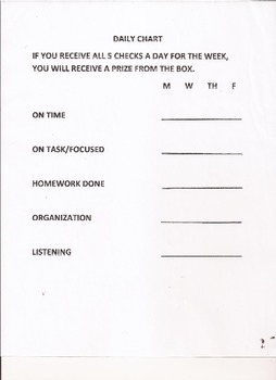 Student Daily Assessment and Behavior Chart