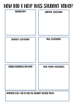 Student Daily Data Sheet