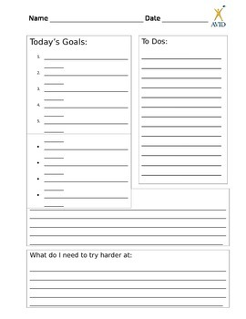 Student Daily Goals and Reflection