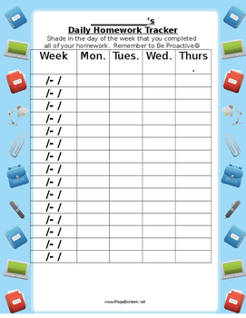 Student Daily Homework Tracker