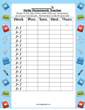 Student Daily Homework Tracker- LIM Leadership Data Notebo