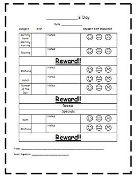 Student Daily Monitor Behavior Sheet