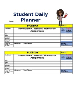 student daily planner teaching resources teachers pay teachers
