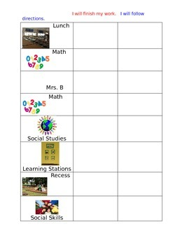 Student Daily Schedule and Reward Chart