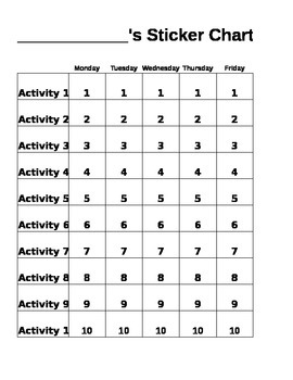Student Daily Sticker Chart Editable