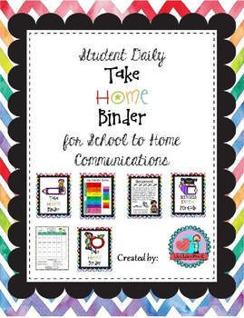 PreK Daily Take Home Binder Folder Packet Watercolor Chevron