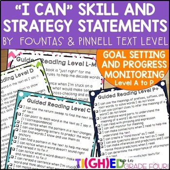 Data Binder Goal Setting: Fountas and Pinnell I Can Statements by Text Level