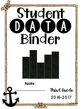 Student Data Binder, Graphs, Goals and Reflection: Anchor Nautical RopeTheme