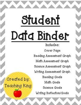 UPDATED: Editable Student Data Binder, Graphs and Goals: Gray Chevron Theme