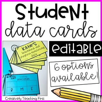 Student Data Cards EDITABLE