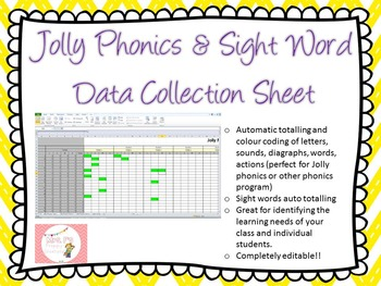 Student Data Collection Sheet- Jolly Phonics, Sight Words EDITABLE