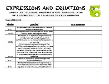 Student Data Folders - 6th Grade Common Core Math Standards Set