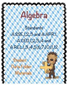 Student Data Folders - High School Algebra Common Core Math Standards Set