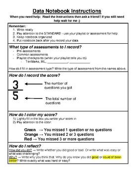 Student Data Notebook 4th Grade Math