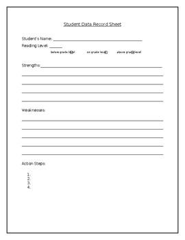 Student Data Record Sheet