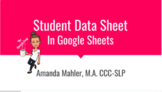 Student Data Sheet - No bells or whistles