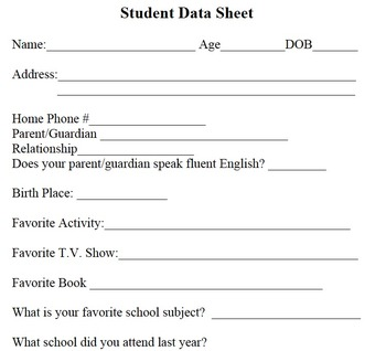 Student Data Sheet - Student Information