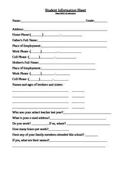 Student Data Sheet/Questionaire