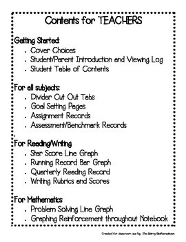Data Notebook for Upper Elementary Students Grades 3-6 (All Subjects)