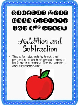 Student Data Tracker 4th grade Addition and Subtraction Standards