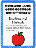 Student Data Tracker 4th grade Fractions and Decimals Standards