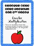 Student Data Tracker 4th grade Greater Multiplication Standards