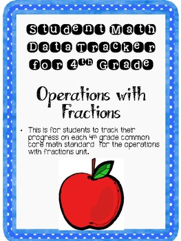 Student Data Tracker 4th grade Operations With Fractions Standards