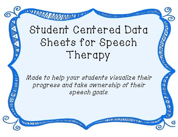 Speech Student Data Tracking Sheets