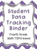 Math Student Data Tracking Binder including NEW 4th grade TEKS