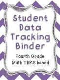 Math Student Data Tracking Binder including NEW 4th grade TEKS