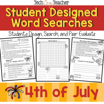 Student Designed Word Search Collaborative Project: 4th of July Independence Day