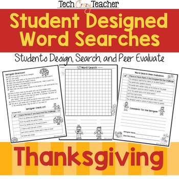 FREE Student Designed Word Search Collaborative Project: Thanksgiving