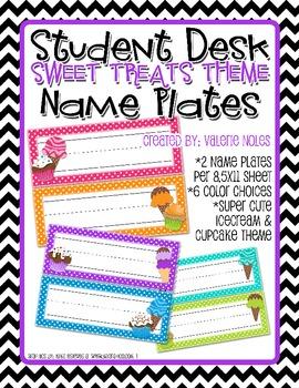 Student Desk Name Plate: Sweet Treats Theme