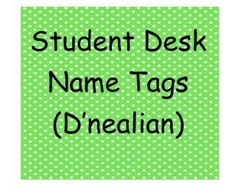 Student Desk Name Plates D'nealian