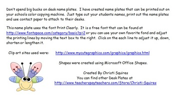 Student Desk Name Plates With Shape Names