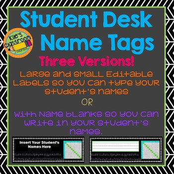 Student Desk Name Tags - Editable