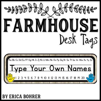 Student Desk/Name Tags: Farmhouse {FREEBIE}