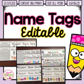 Student Desk Name Tags Plates EDITABLE