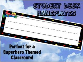 Student Desk Nameplates - Superhero Themed