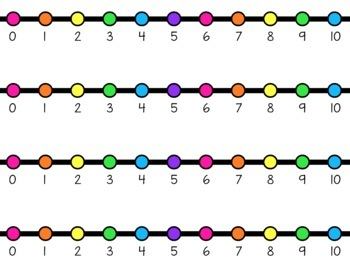 HORIZONTAL Student Desk Number Lines - Rainbow Bright (0-10 to 0-30)