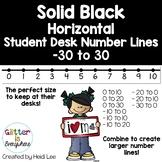 HORIZONTAL Student Desk Number Lines - Solid Black (0-10 to 0-30)