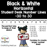 HORIZONTAL Student Desk Number Lines - Tuxedo Black and Wh