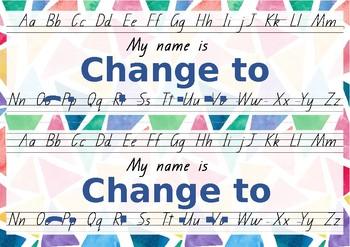Student Desk Placemats (Queensland Beginners Font)