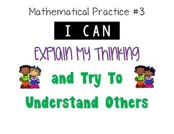 Math Practices - Student Desk Reminder Cards/Labels & Classroom Posters