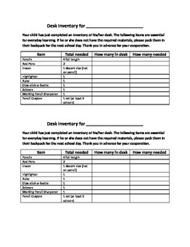 Student Desk Supply Inventory Note