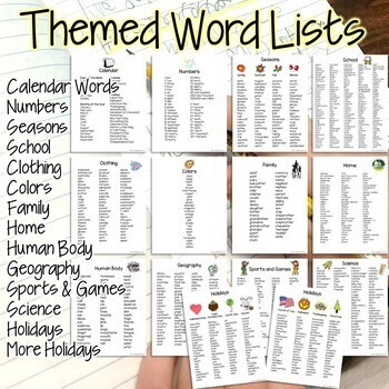 Student Dictionary Editing Tool-Commonly Spelled Words and Themed Lists Gr. 2-3