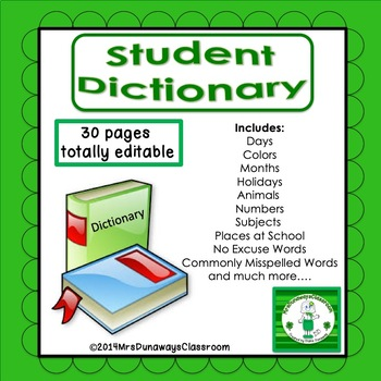 Student Dictionary (editable)