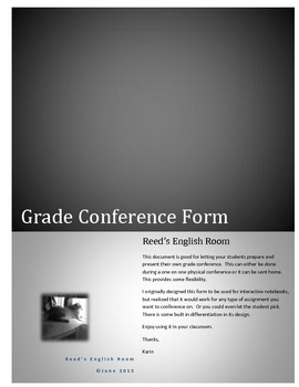 Student Directed Conferencing Form
